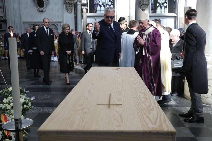 Le prince Laurent de Belgique aux obsèques du cardinal Danneels à Malines, le 22 mars 2019