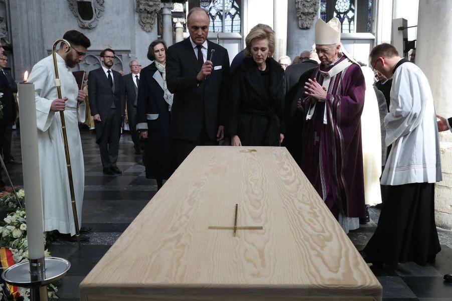 La princesse Astrid de Belgique et le prince Lorenz aux obsèques du cardinal Danneels à Malines, le 22 mars 2019