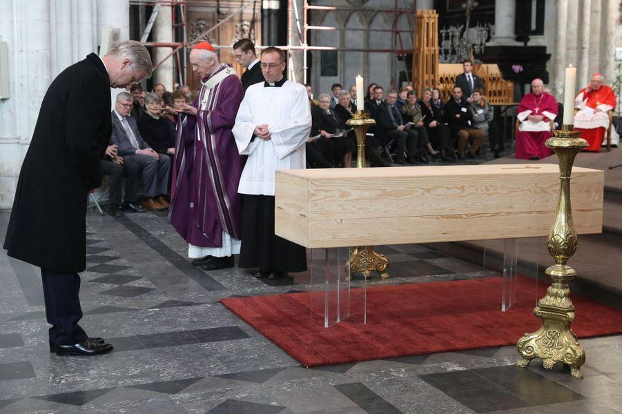 Le roi des Belges Philippe aux obsèques du cardinal Danneels à Malines, le 22 mars 2019