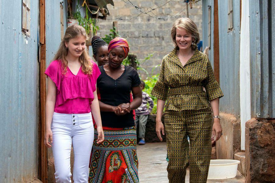 La reine des Belges Mathilde et sa fille aînée la princesse Elisabeth de Belgique au Kenya, le 26 juin 2019