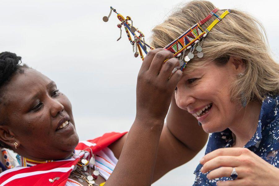 La reine des Belges Mathilde chez les Massaï au Kenya, le 27 juin 2019