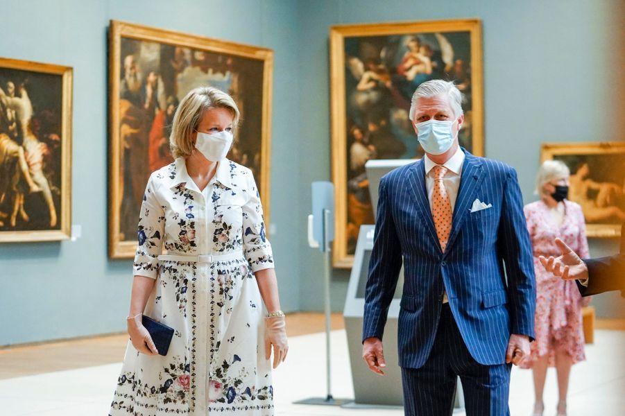 La reine Mathilde et le roi des Belges Philippe visitent le Musée Old Masters à Bruxelles, le 19 mai 2020