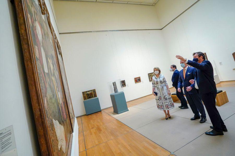 La reine Mathilde et le roi des Belges Philippe au Musée Old Masters à Bruxelles, le 19 mai 2020