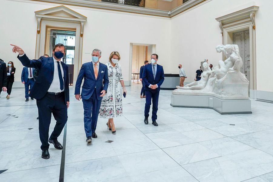 La reine Mathilde et le roi des Belges Philippe au Musée Old Masters à Bruxelles, le 19 mai 2020 jour de sa réouverture