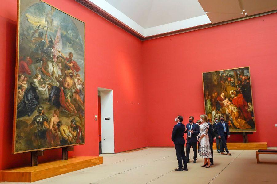 La reine Mathilde et le roi des Belges Philippe au Musée Old Masters, le 19 mai 2020 à Bruxelles