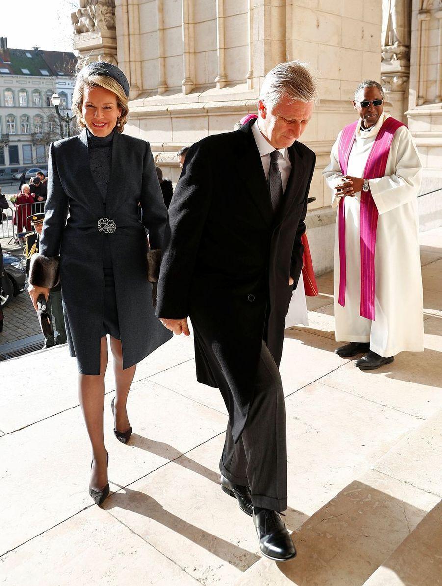 Le roi des Belges Philippe et la reine Mathilde à Bruxelles, le 19 février 2019
