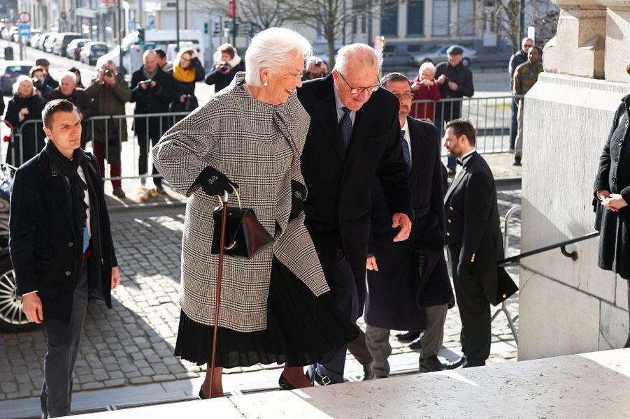 L'ex-reine Paola et l'ex-roi des Belges Albert II à Bruxelles, le 19 février 2019