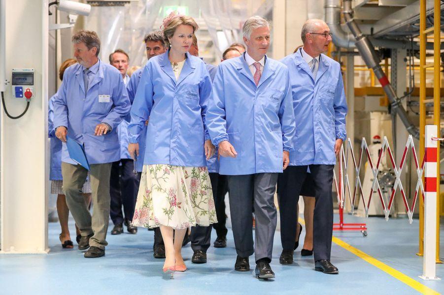 La reine Mathilde de Belgique et le roi des Belges Philippe à Leuna, le 10 juillet 2019