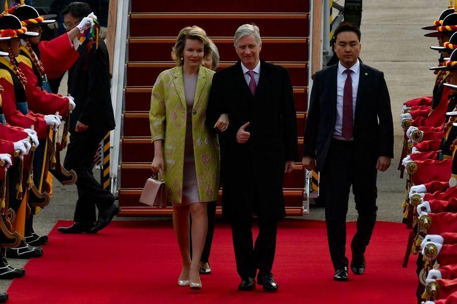 La reine Mathilde et le roi des Belges Philippe à Séoul en Corée du Sud, le 24 mars 2019