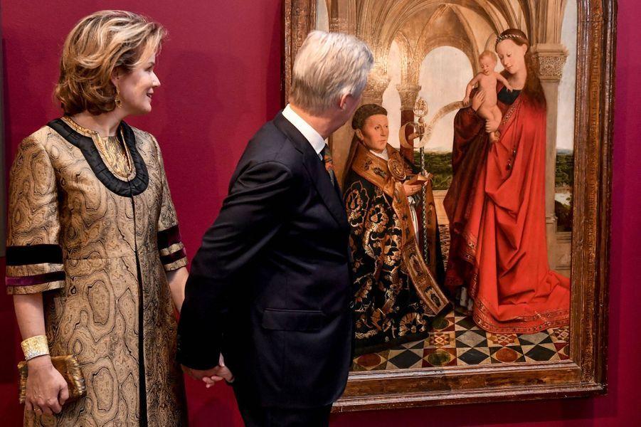 La reine Mathilde et le roi des Belges Philippe au musée des Beaux-Arts de Gand, le 30 janvier 2020
