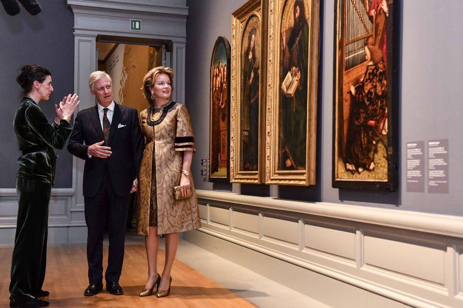 Le roi des Belges Philippe et la reine Mathilde au musée des Beaux-Arts de Gand, le 30 janvier 2020