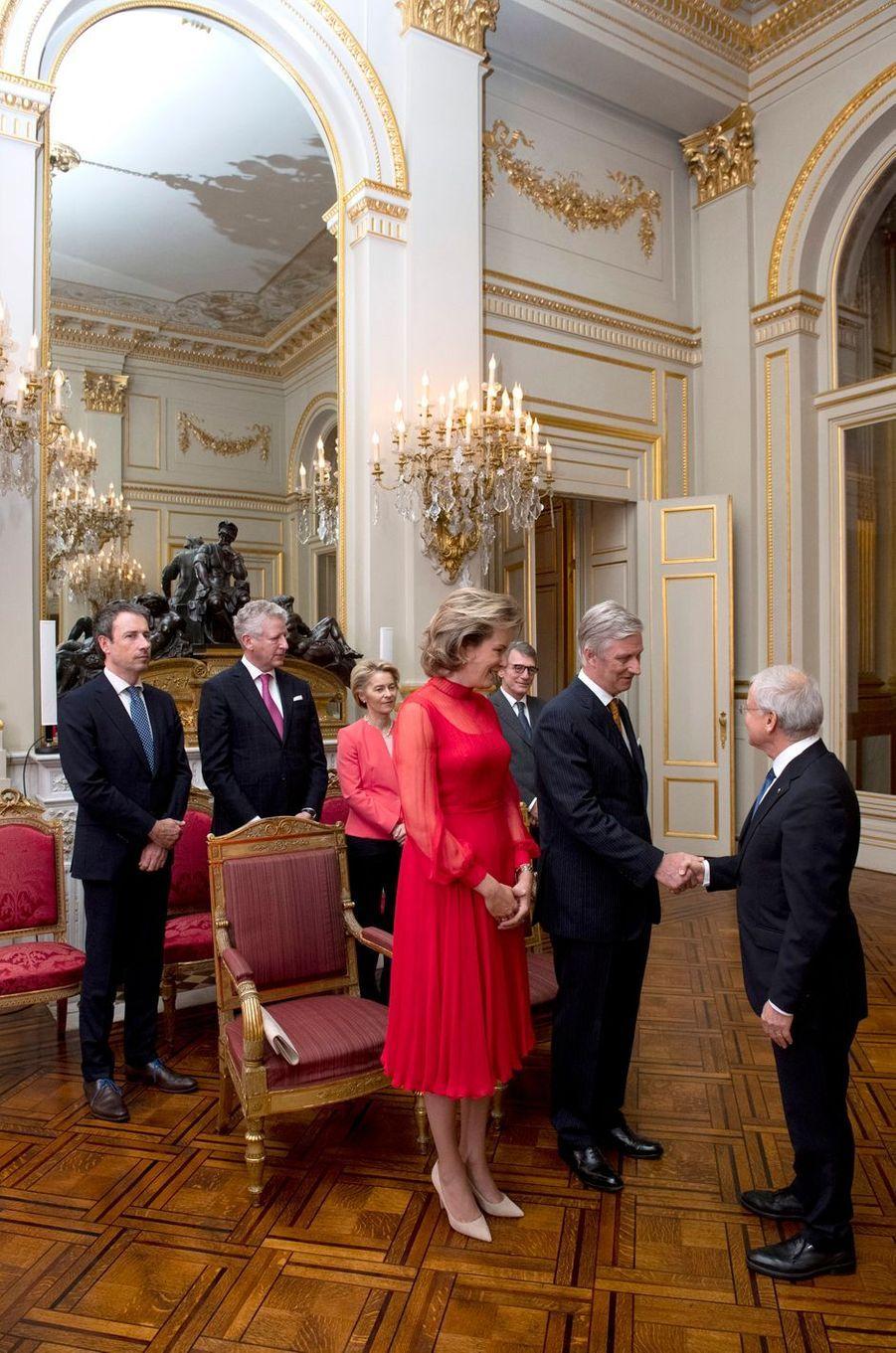 La reine Mathilde et le roi des Belges Philippe au Palais royal à Bruxelles, le 9 janvier 2020