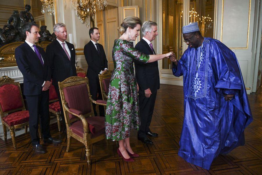 La reine Mathilde et le roi des Belges Philippe au Palais royal à Bruxelles, le 14 janvier 2020