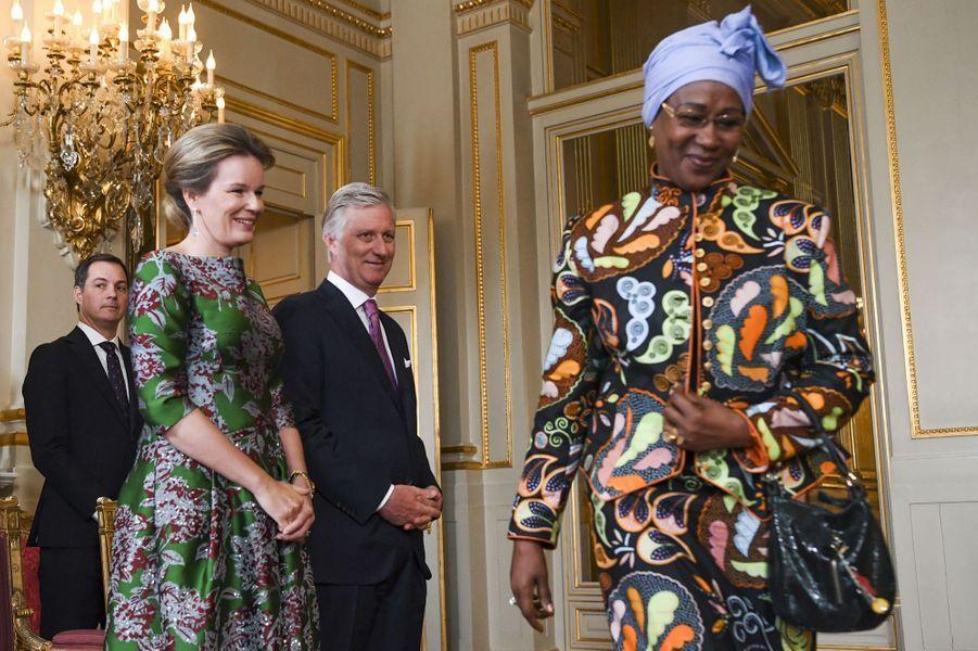 La reine Mathilde avec le roi des Belges Philippe au Palais royal à Bruxelles, le 14 janvier 2020