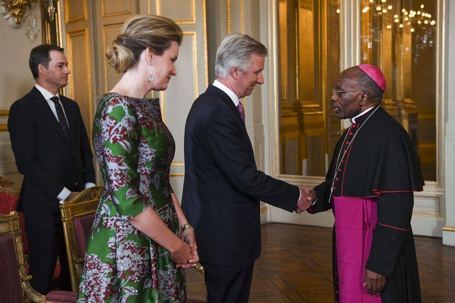 La reine Mathilde avec le roi des Belges Philippe à Bruxelles, le 14 janvier 2020