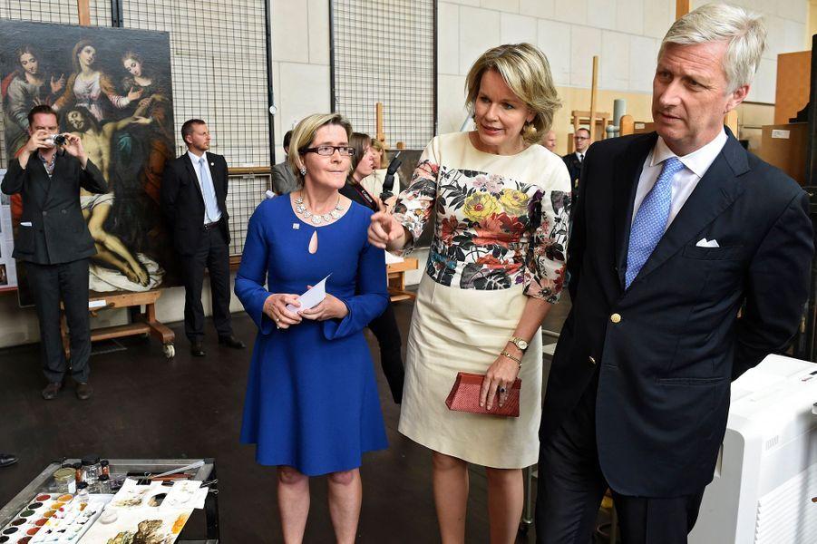La reine Mathilde et le roi des Belges Philippe à l'IRPA à Bruxelles, le 11 juin 2018