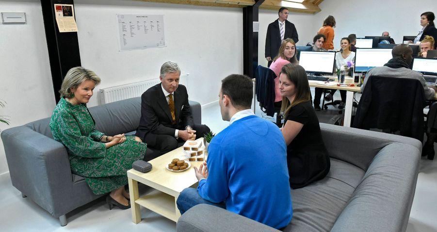 La reine Mathilde et le roi des Belges Philippe à Ramillies, le 11 décembre 2018