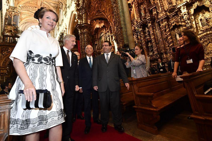 La reine Mathilde et le roi des Belges Philippe à Porto, le 24 octobre 2018
