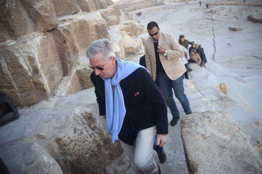 Le roi des Belges Philippe sur le site de Gizeh en Egypte, le 5 janvier 2019
