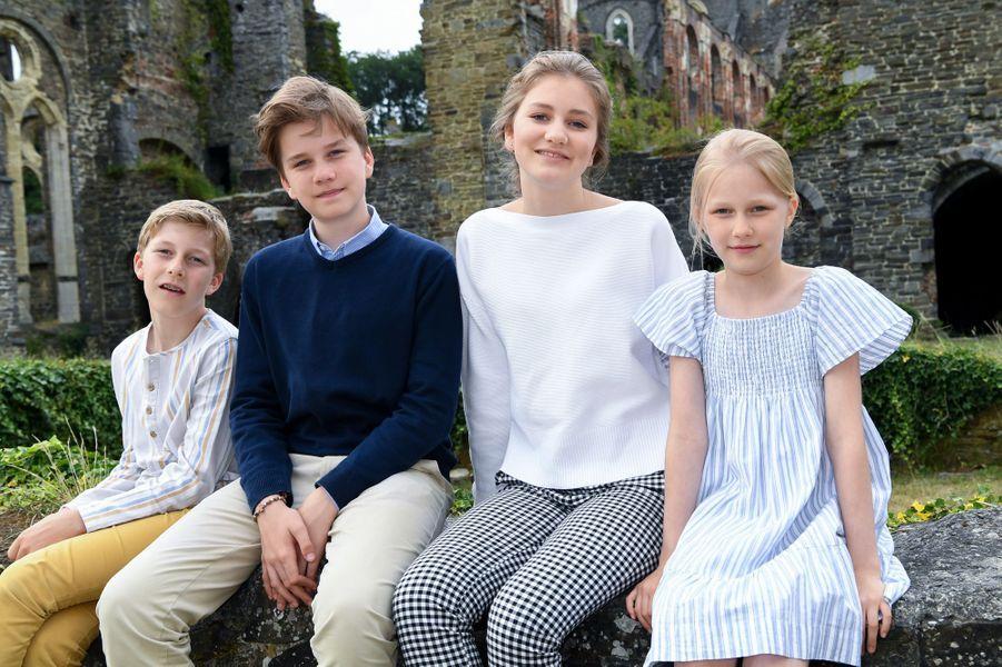 Les princes Emmanuel et Gabriel et les princesses Elisabeth et Eléonore de Belgique à Villers-la-Ville, le 24 juin 2018