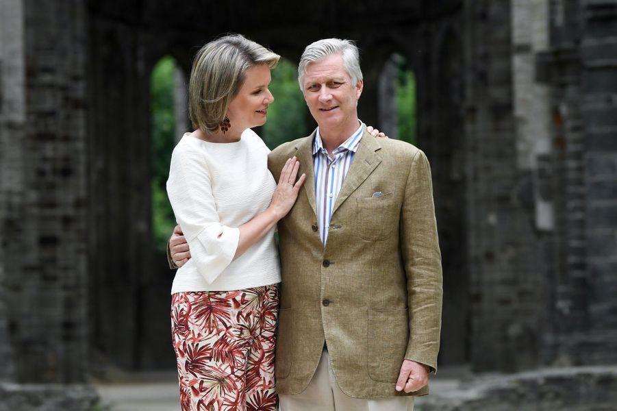La reine Mathilde et le roi des Belges Philippe à Villers-la-Ville, le 24 juin 2018