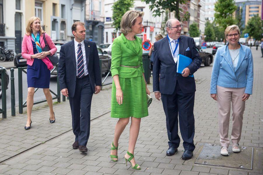 La reine Mathilde de Belgique à Anderlecht, le 29 juin 2016