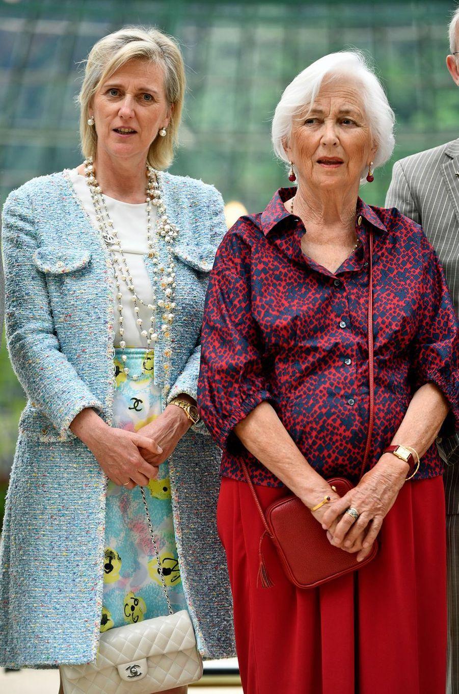 La princesse Astrid de Belgique et sa mère l'ex-reine des Belges Paola à Bruxelles, le 31 mai 2017
