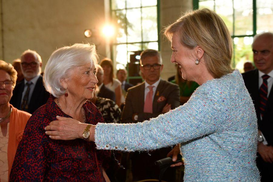 L'ex-reine des Belges Paola et la princesse Astrid de Belgique à Bruxelles, le 31 mai 2017