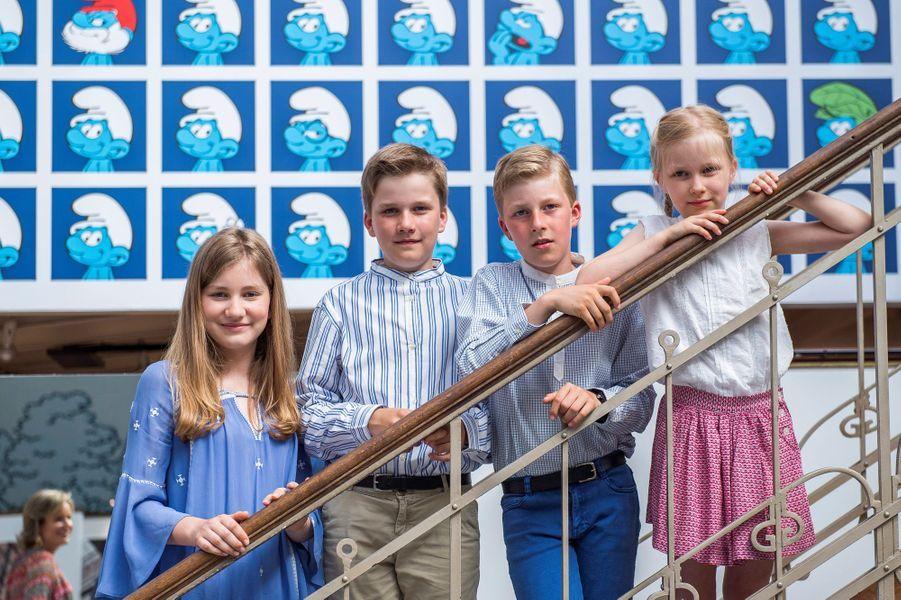 Le prince Gabriel de Belgique avec ses soeurs et son frère, le 19 juin 2016