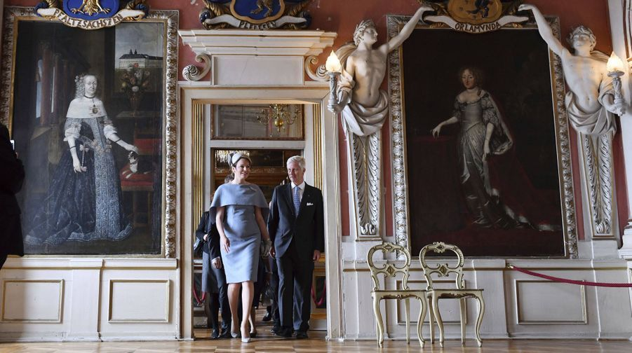 La reine Mathilde de Belgique et le roi des Belges Philippe visitent le château de Friedenstein à Gotha, le 9 juillet 2019