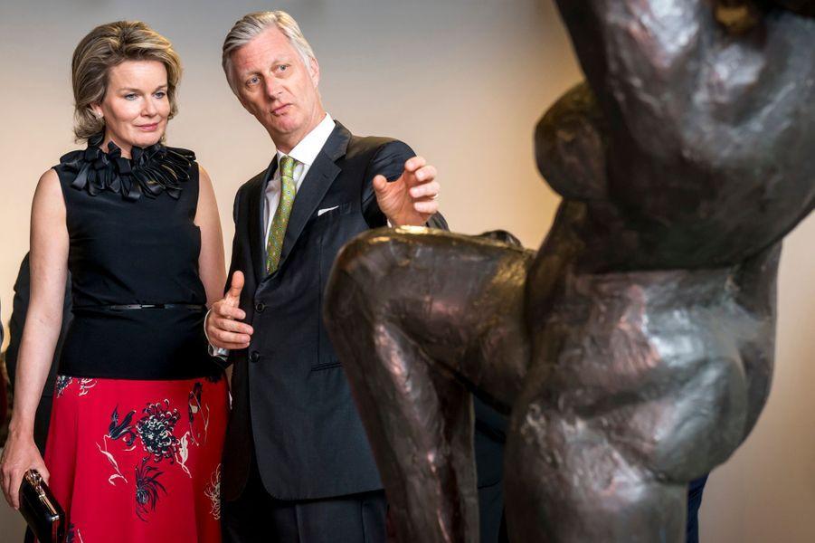 La reine Mathilde et le roi Philippe de Belgique à Bruxelles, le 27 avril 2017