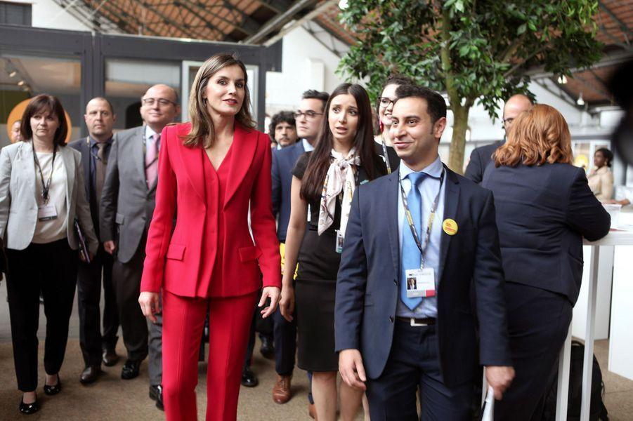 La reine Letizia d'Espagne à Bruxelles, le 5 juin 2018