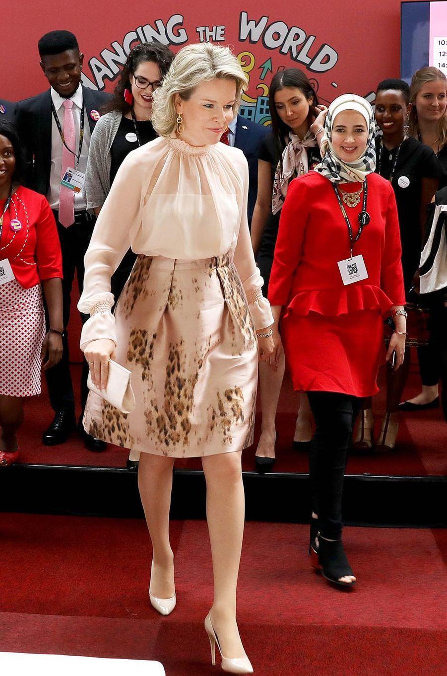 La reine Mathilde de Belgique à Bruxelles, le 5 juin 2018