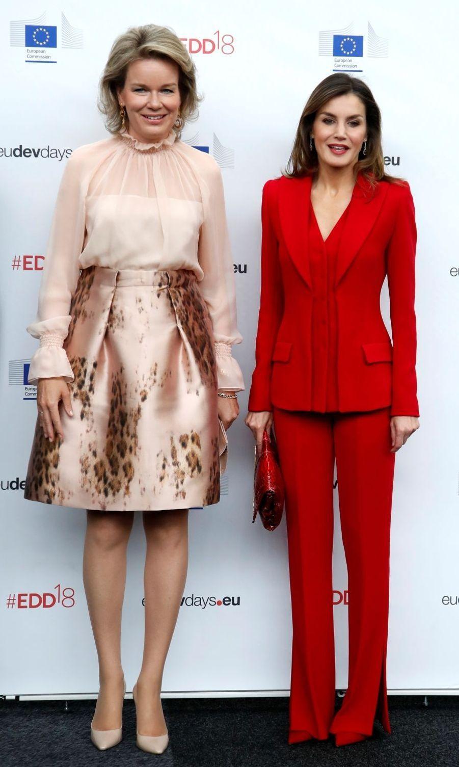 Les reines Mathilde de Belgique et Letizia d'Espagne à Bruxelles, le 5 juin 2018