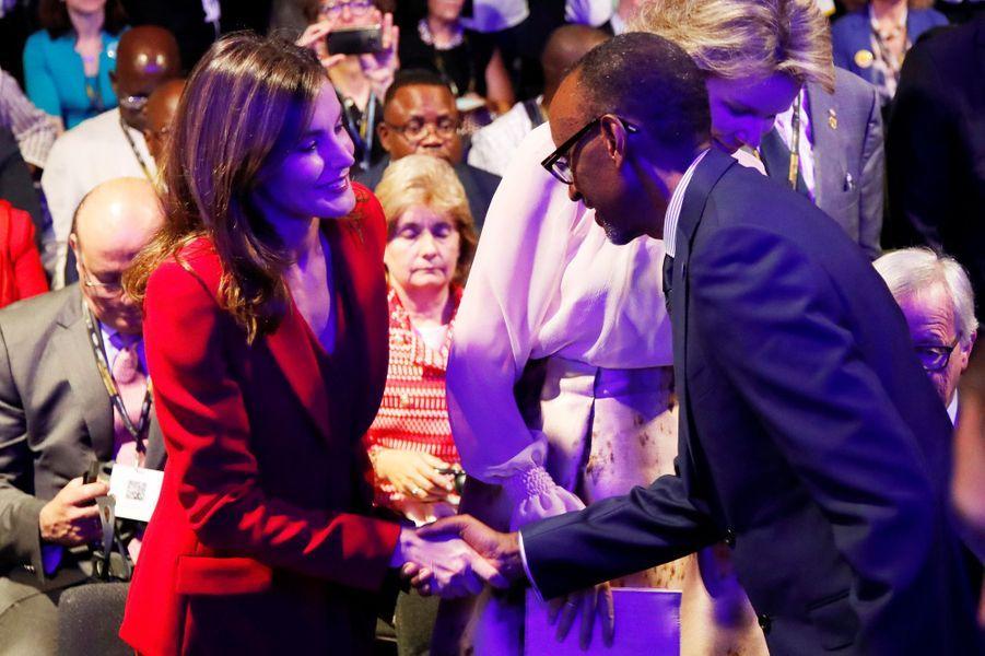 La reine Letizia d'Espagne avec Paul Kagame à Bruxelles, le 5 juin 2018