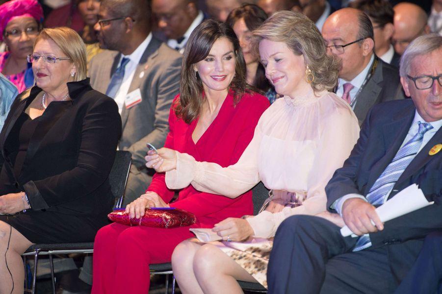 Les reines Letizia d'Espagne et Mathilde de Belgique à Bruxelles, le 5 juin 2018