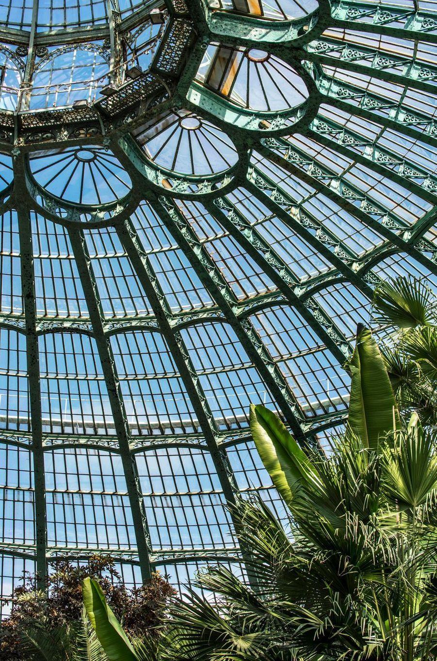 Les serres royales de Laeken à Bruxelles, le 21 avril 2015 : détail d'architecture du jardin d'hiver