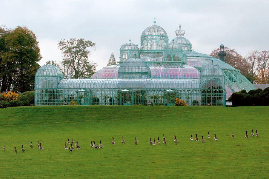 Les serres royales de Laeken à Bruxelles. Photo non datée