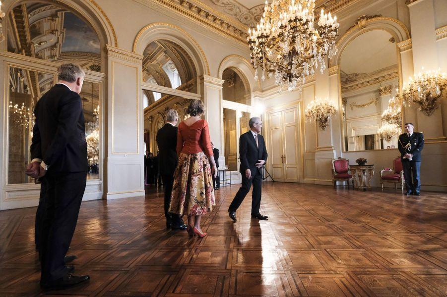 La reine Mathilde et le roi Philippe de Belgique au Palais royal à Bruxelles, le 12 janvier 2017