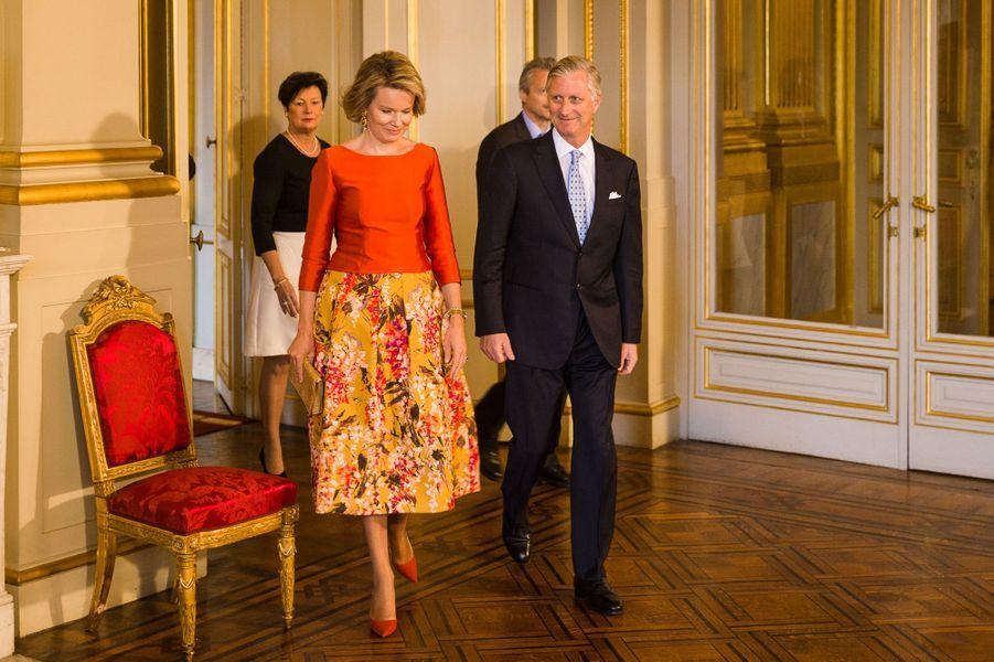 La reine Mathilde et le roi des Belges Philippe au Palais royal à Bruxelles, le 12 janvier 2017