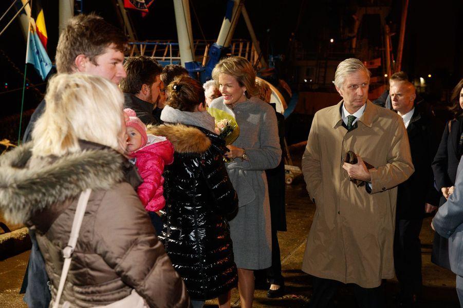 La reine Mathilde et le roi Philippe de Belgique à Zeebrugge, le 9 novembre 2016