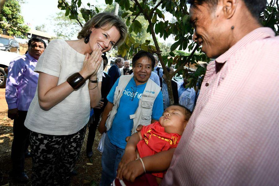 La reine Mathilde de Belgique au Laos, le 21 février 2017