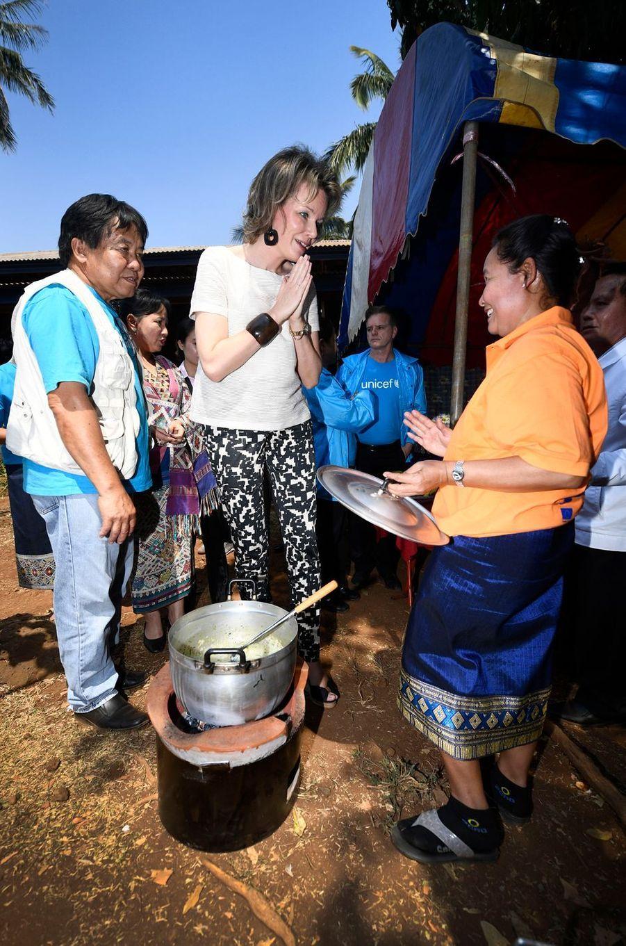 La reine des Belges Mathilde au Laos, le 21 février 2017