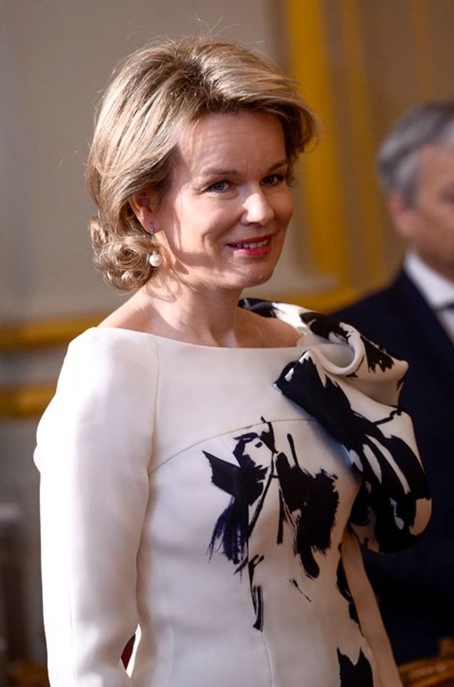 La reine Mathilde de Belgique au Palais royal à Bruxelles le 7 janvier 2016