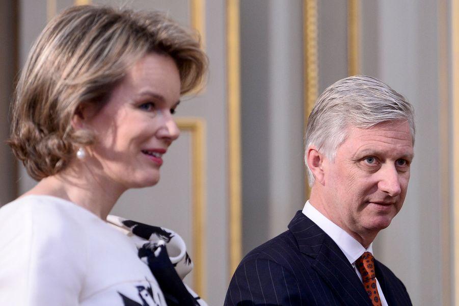 La reine Mathilde et le roi Philippe de Belgique au Palais royal à Bruxelles le 7 janvier 2016