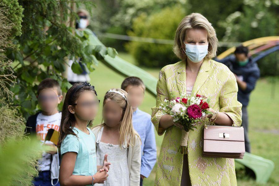 La reine des Belges Mathilde à Houtain-le-Val, le 4 juin 2020