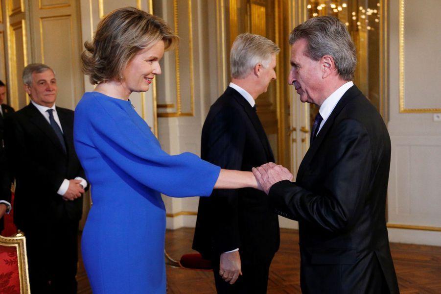 La reine Mathilde et le roi des Belges Philippe au Palais royal à Bruxelles, le 26 janvier 2017