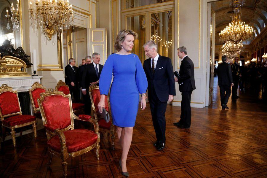 La reine Mathilde et le roi des Belges Philippe à Bruxelles, le 26 janvier 2017