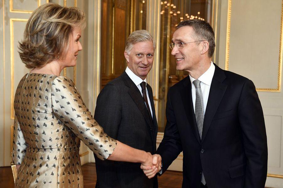 La reine Mathilde et le roi Philippe de Belgique au Palais royal à Bruxelles, le 26 janvier 2017