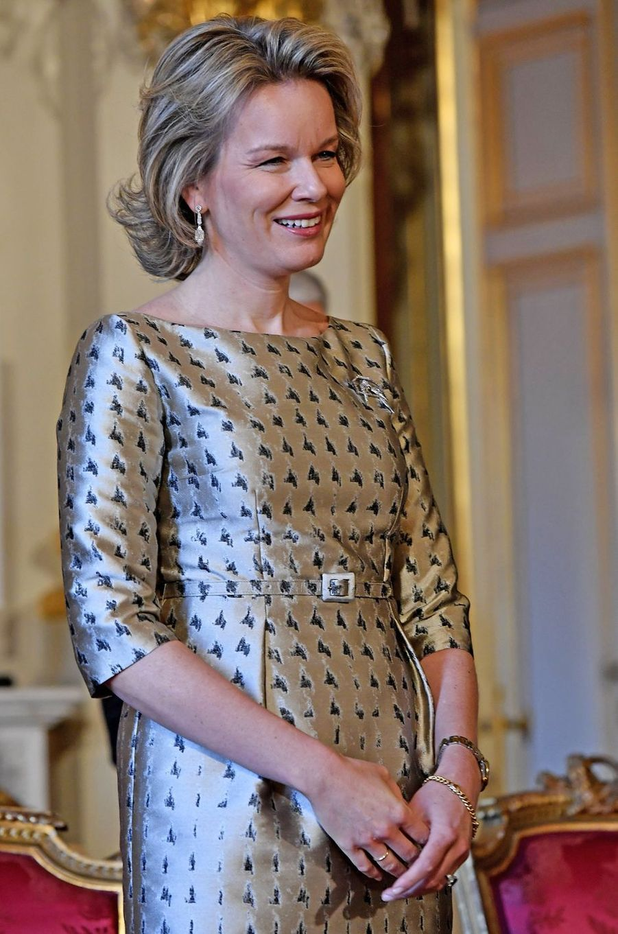 La reine Mathilde de Belgique au Palais royal à Bruxelles, le 26 janvier 2017